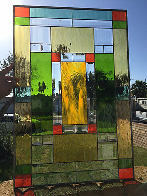Mission Style Stained & Beveled Glass Window Panel (We do custom work)