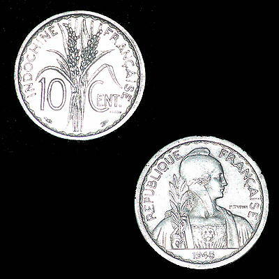 10 Centimes Indochine 1945 Colonies France Sup / Spl