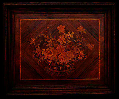Large Antique Marquetry Floral Still Life Picture Panel Dutch French Flemish