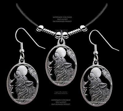 Wolves Moon Song Wolf Necklace & Earrings Set-  A Gift To Howl About - Sale 24L
