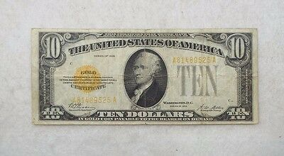Series of 1928 $10 Gold Certificate Note FINE Fr#2400