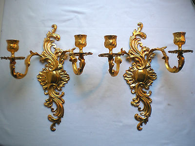 2 French sconces, gilt metal, with 2 candle holders, acanthus, Louis XV style