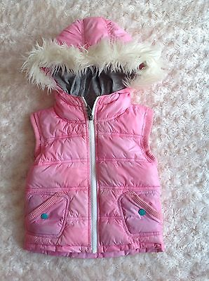 Girls Lovely Pink Animal Gilet Bodywarmer With Hood Age 3-4 Years