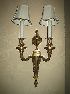 Louis Xvi Two Arm Bronze Dore Sconces 1 Pair 16 H X 9.5 W Electrified Beautiful