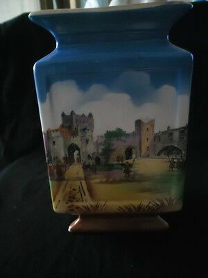 VINTAGE TRIANGULAR VASE  CASTLE DESIGN unmarked