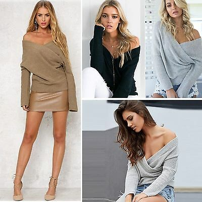 Womens Batwing Jumper Pullover Loose Cross Wrap Winter V Neck Front Sweater