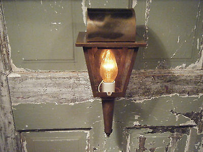 Vintage Brass Light Fixture Coach Candle Lantern Antique Patina 17 18th century