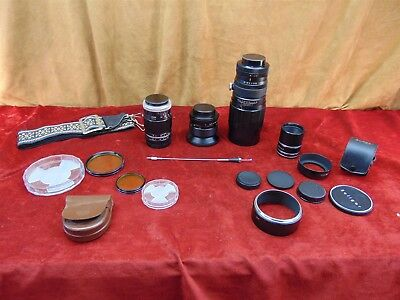 Lot of Camera LENS Soligor Tele 200mm, Vivtar Wide Angle 28mm, Sears 135mm +CASE