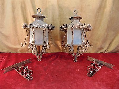 2 Vintage Copper & Glass Mexican Wall HANGING Candle LANTERNS/LAMPS w/ Brackets