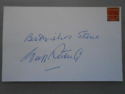 Geoff Strong Arsenal Legend Hand Signed Postcard & Coa
