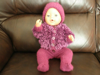 Hand Knitted Outfit to fit 16 inch Doll in Amethyst