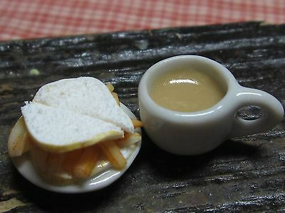 12th scale dollhouse dolls house food~Chip sandwich and tea  ~ by redclegg