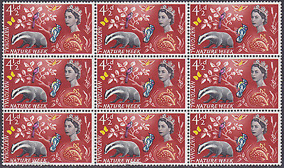 GB QEII 1963 National Nature Week 4.1/2d MNH Block of 9 Stamps SG638