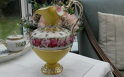 Antique Yellow And Gilt Hand Painted Roses Ewer. Minton ? Worcester ? 19Thc ?