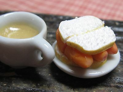 12th scale dollhouse dolls house food~Sausage sandwich with tea ~ by redclegg