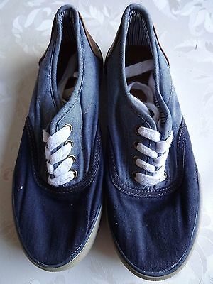 Tu Navy and Denim Lace-Up Pumps Size 2