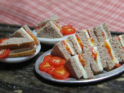 12th scale dollhouse dolls house food~Cheese and tomato sandwiches ~ by redclegg