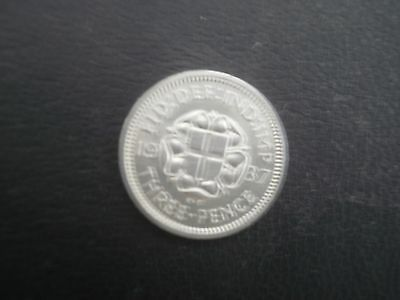 1937  george vi silver threepence in good condition