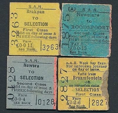 QY2355d SOUTH AFRICA 4 ½ tickets 1932-36 Brakpan Newclare Braamfontein Selection