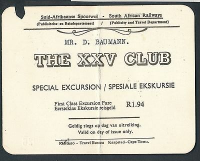 QPB38d SOUTH AFRICA XXV club excursion 1965 1st cl Claremont - Lategan