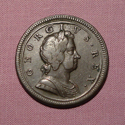 1719 KING GEORGE I COPPER HALFPENNY - Nice Coin & Grade