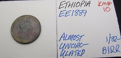 Ethiopia Ee1889 1/32-Birr! Almost Unc! Km# 10! Really Nice Type Coin! Look!