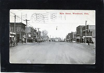 Woodward,OK-Dirt MAIN STREET w HORSES BUSINESS STORES-1914 PC