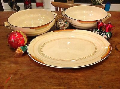 Vintage Serving Dishes & Platter RIBSTONE WARE Booths 1930s Art Deco Xmas