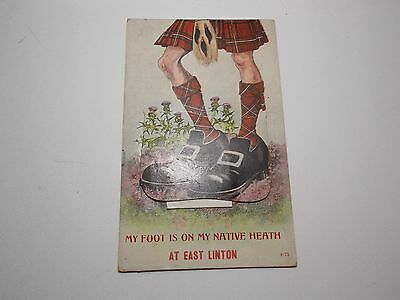 Antique Postcard My Foot Is On Native Heath East Linton Novelty Fold Out 1913