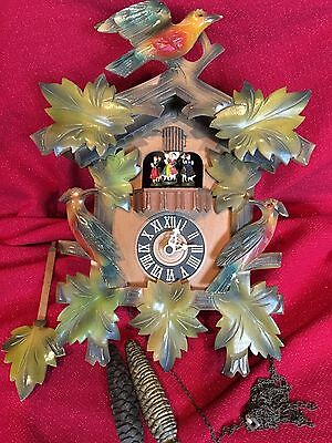 Large Antique German Black Forest Carved 2 Tune Musical Cuckoo Clock Dancers