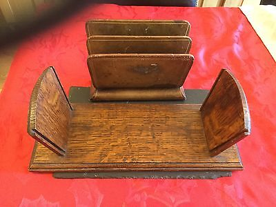 Old Carved Letter Rack With 1930s Bookshelf