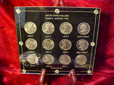 SET OF 1979-1981 SBA SUSAN B ANTHONY DOLLARS IN encore HOLDER w/ TYPE 1 PROOFS