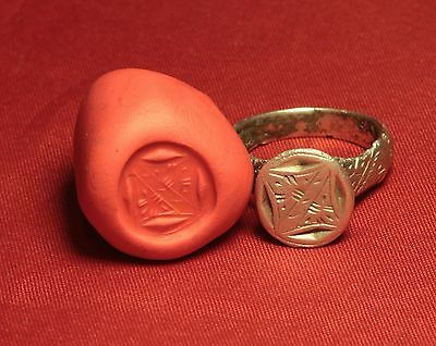 Rare Medieval Ghotic Silver Seal Ring, 12. Century, Finger Ring