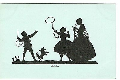 Silhouette Children Playing With Hoops Lady Knitting Early 1900's