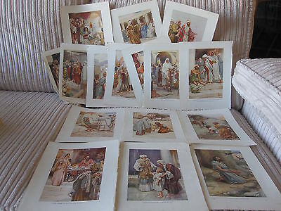 40+ colour religious/Jesus pictures/plates from a vintage children's Bible book.