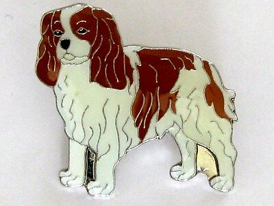 Cavalier King Charles Spaniel Enamel Squeeze & Push Clasp Pin Usa Made Only One!
