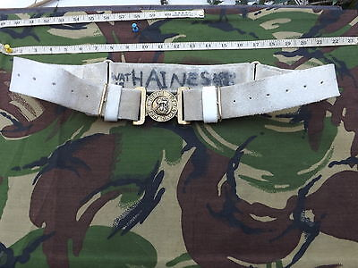British Army, Buff Leather Parade Belt with Repro Kings Crown Buckle