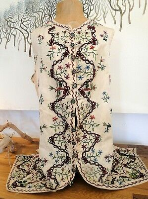 Circa 18Thc. Gent'S Silk Damask Waistcoat W/beauvais Embroidery,chenille,sequins