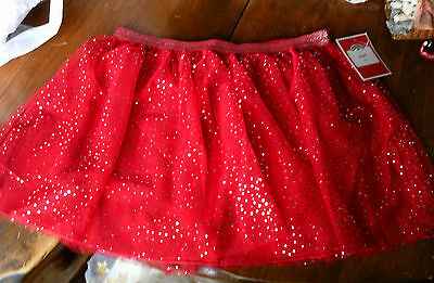 Holiday Time Red & SILVER POLKA DOTS Toddler Girl 6 Tutu Skirt 6X Small