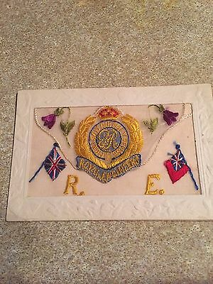 WW1 RE ROYAL ENGINEERS EMBROIDERED SILK POSTCARD original letter card military