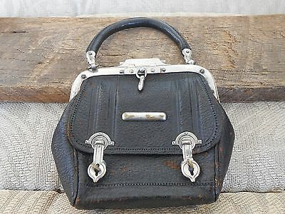 Antique 1800's Unusual Small Leather Purse Silver Latch & Clasps Stamped 130