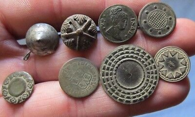 8 old Spanish Colonial Buttons 16-18th c Medieval Royal & Patriotic Pirate Times
