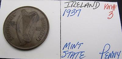 Ireland 1937 Large Penny! Minty! Km# 3! Really Nice Type Coin! Look!