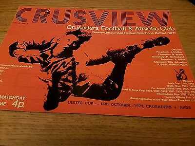 1972 Crusaders v  Ards  ulster cup programme