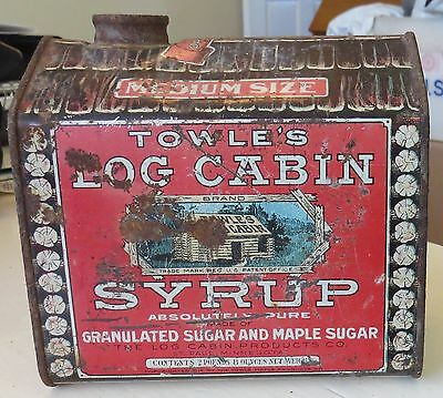 Vtg Advertising TOWLE'S LOG CABIN SYRUP tin/can medium size 2lbs 8 oz