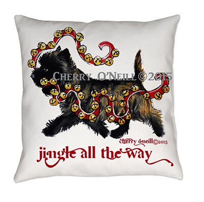Cairn Terrier Christmas Pillow Holiday Home Decor Toto Xmas