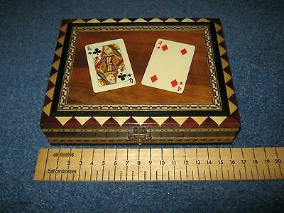Vintage Wood/treen Playing Card Box+2 Packs Of Cards.