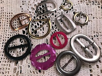 Lot Of 11 Vintage Ladies' Belt Buckles (Variety Of Sizes, Styles & Colors)