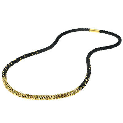 Long Beaded Kumihimo Necklace - Black & Gold Exclusive Beadaholique Jewelry Kit