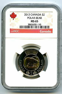 2013 Canada $2 Two Dollar Ngc Ms65 Uncirculated Polar Bear Certified Toonie